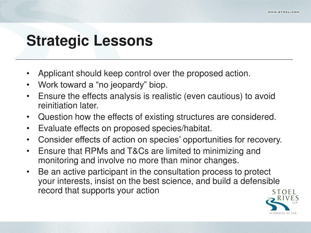 Strategic Lessons