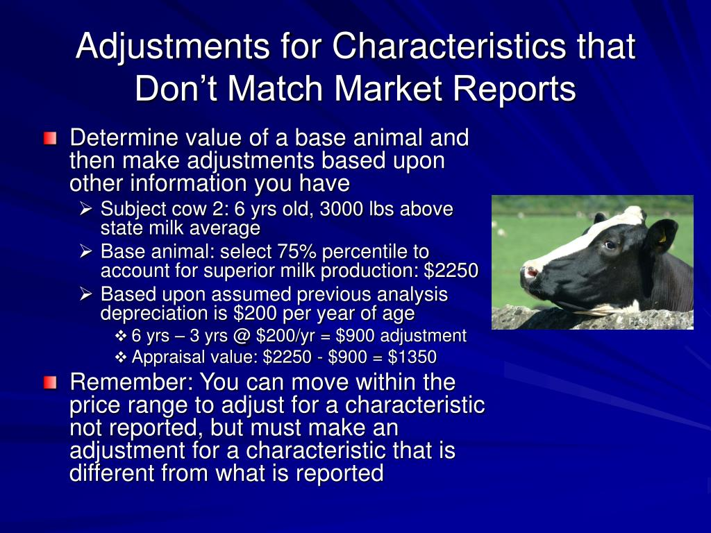 Adjustments for Characteristics that Don't Match Market Reports