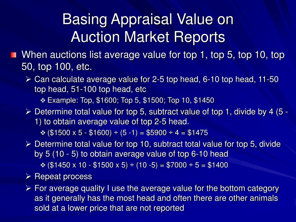 Basing Appraisal Value on
