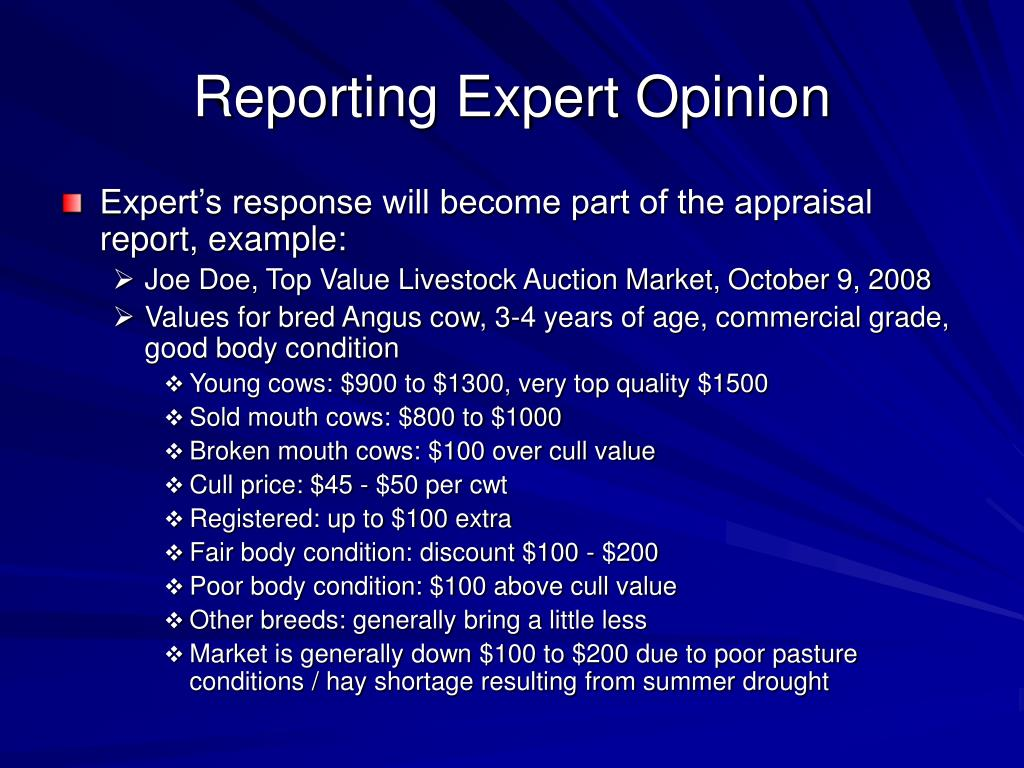 Reporting Expert Opinion