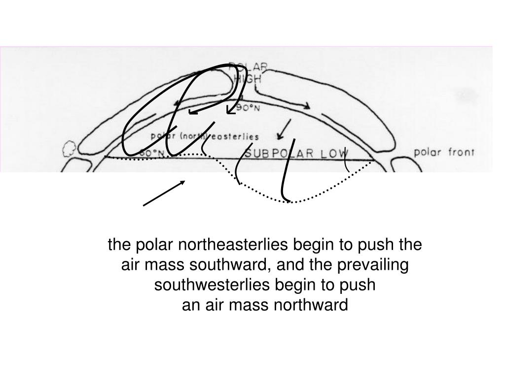 the polar northeasterlies begin to push the air mass southward, and the prevailing southwesterlies begin to push