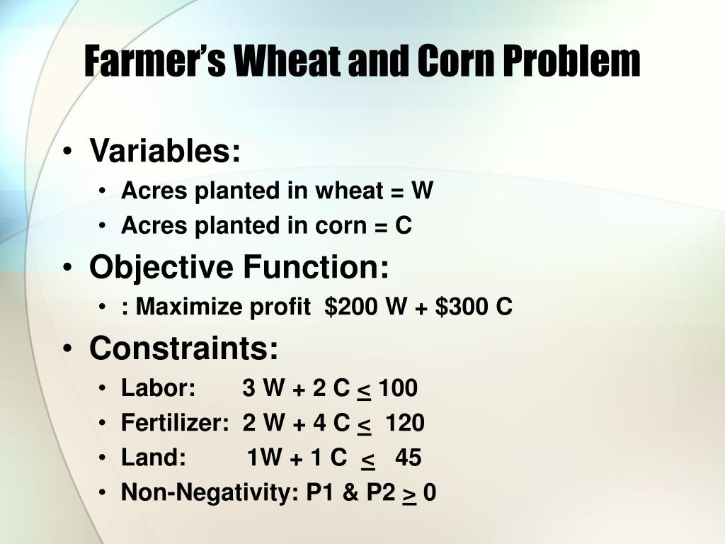 Farmer's Wheat and Corn Problem