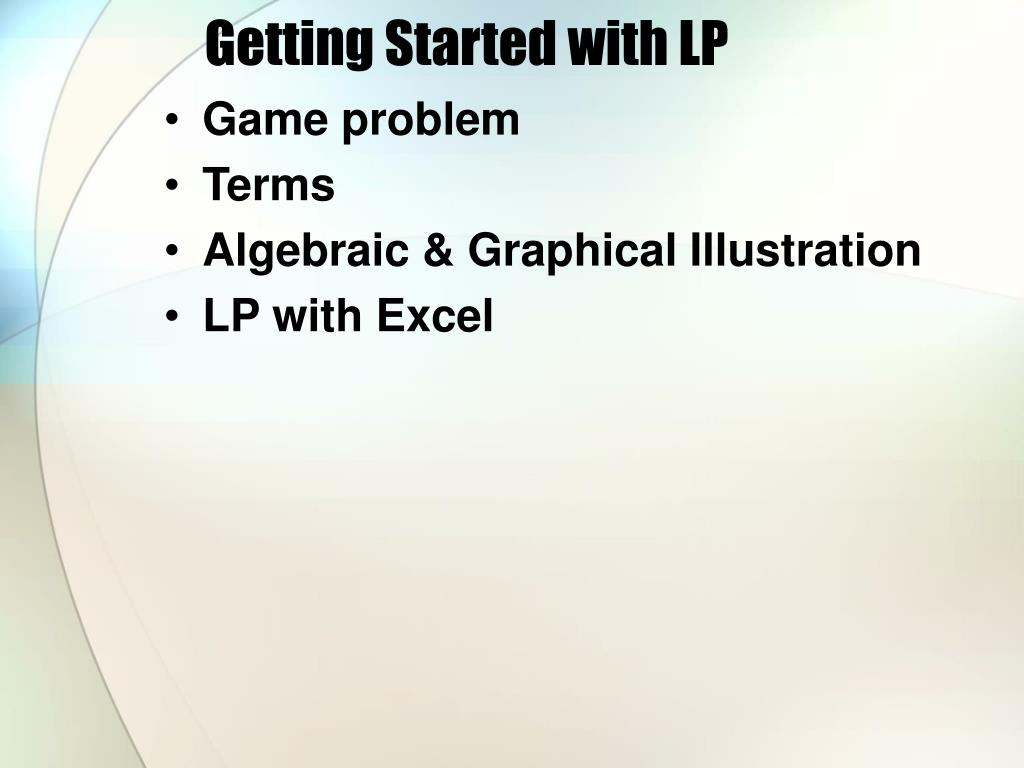 Getting Started with LP