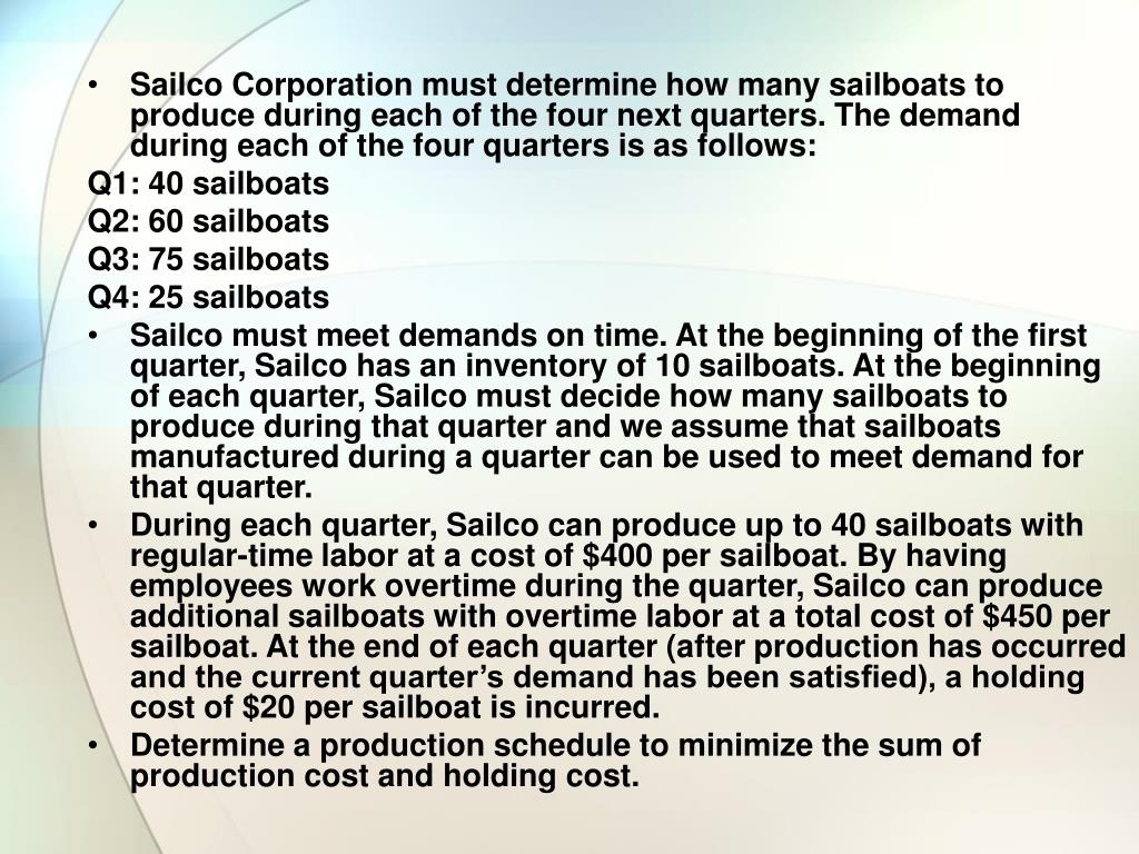 Sailco Corporation must determine how many sailboats to produce during each of the four next quarters. The demand during each of the four quarters is as follows: