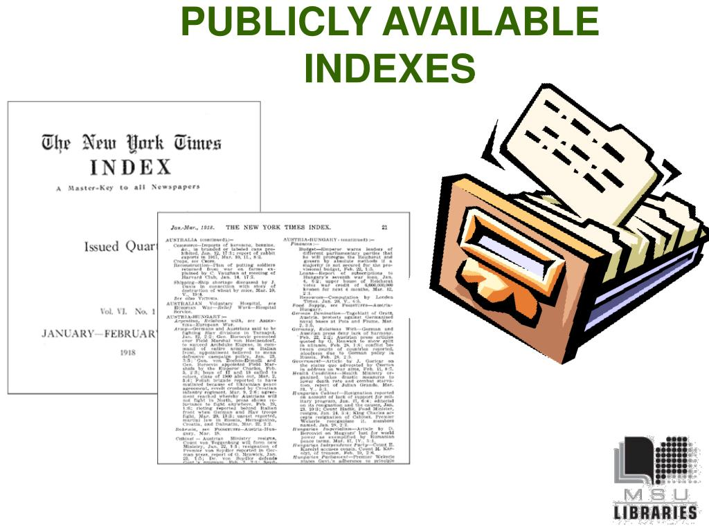 PUBLICLY AVAILABLE INDEXES
