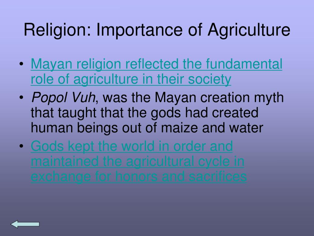 Religion: Importance of Agriculture