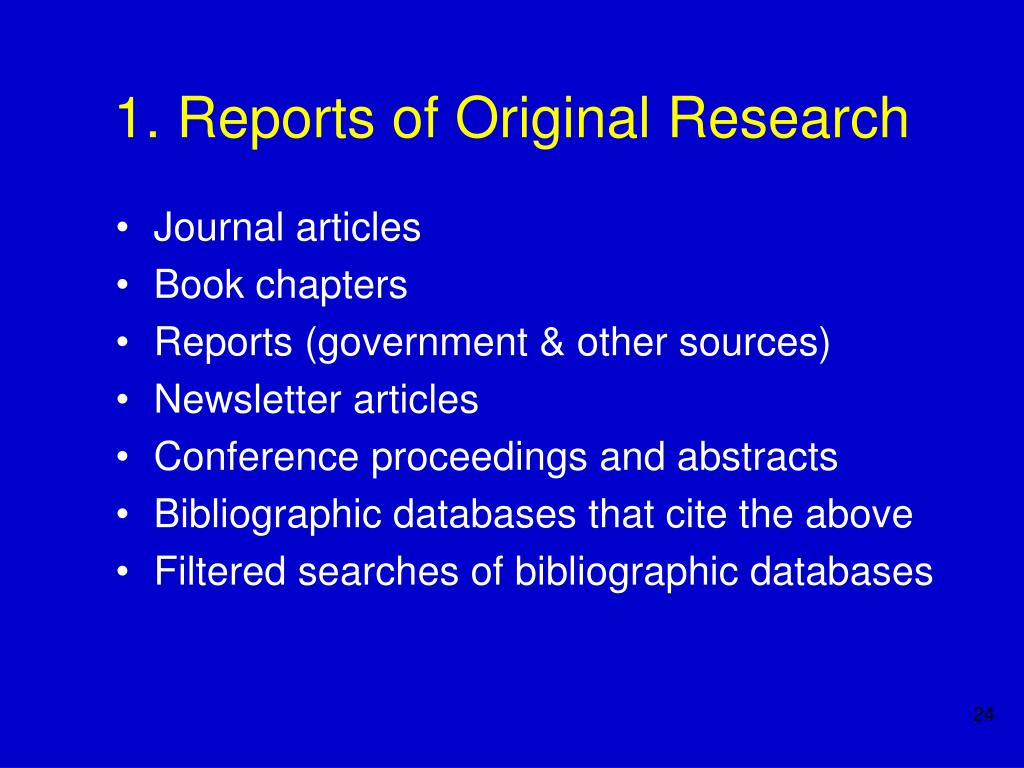 1. Reports of Original Research