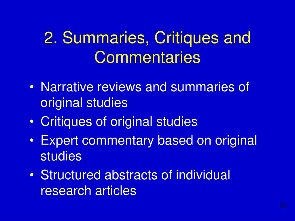 2. Summaries, Critiques and Commentaries
