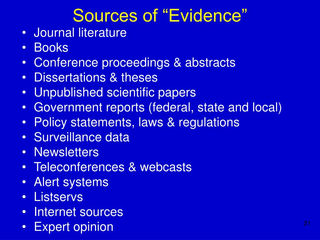 "Sources of ""Evidence"""