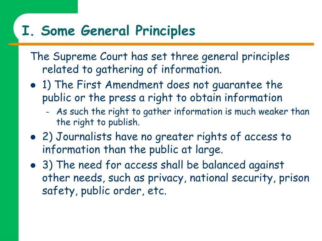 I. Some General Principles