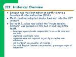 iii historical overview