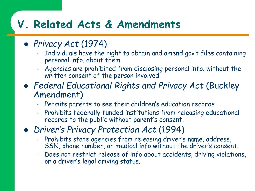 V. Related Acts & Amendments