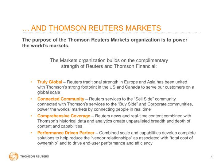 … AND THOMSON REUTERS MARKETS