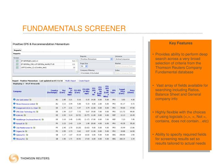 FUNDAMENTALS SCREENER