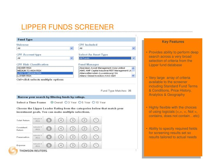 LIPPER FUNDS SCREENER