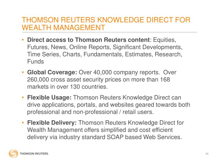 THOMSON REUTERS KNOWLEDGE DIRECT FOR WEALTH MANAGEMENT