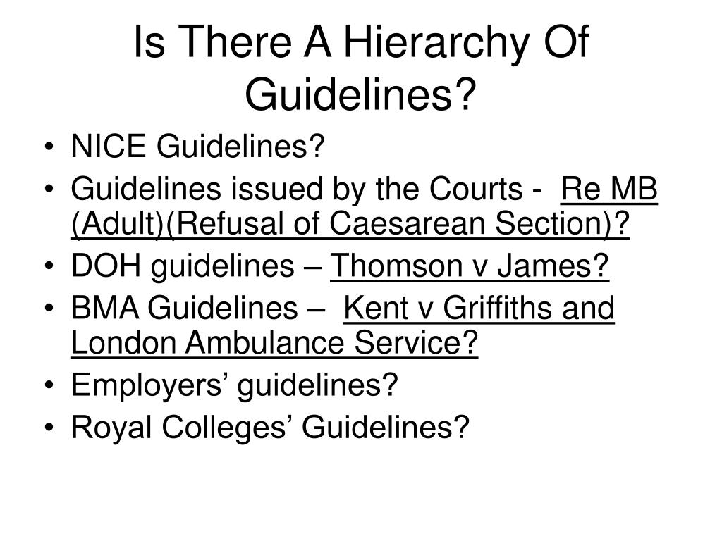 Is There A Hierarchy Of Guidelines?