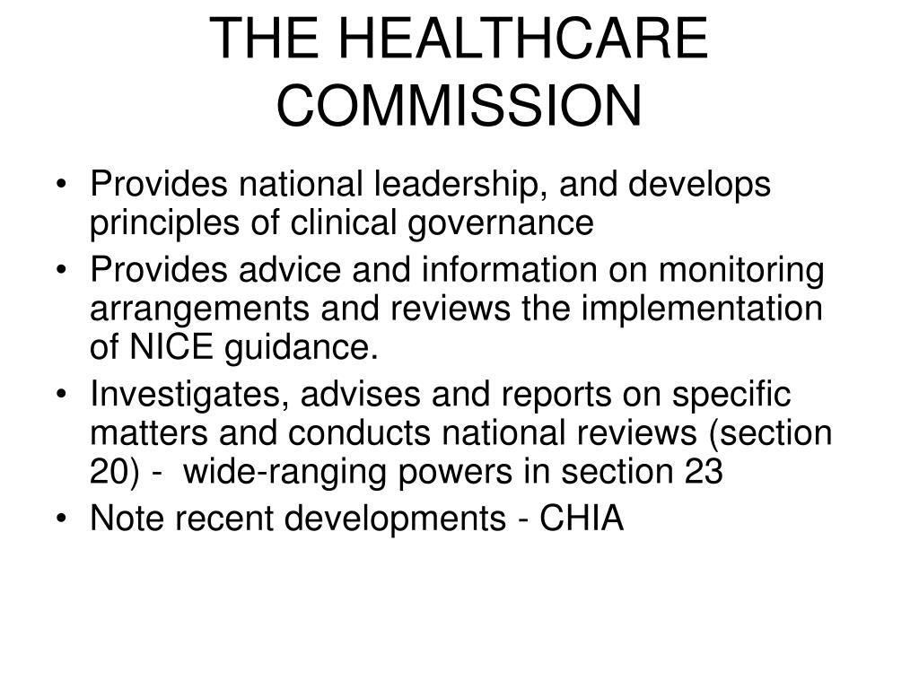 THE HEALTHCARE COMMISSION