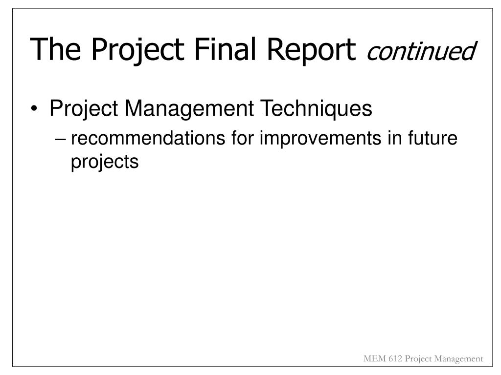The Project Final Report