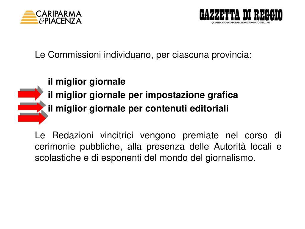 Le Commissioni individuano, per ciascuna provincia: