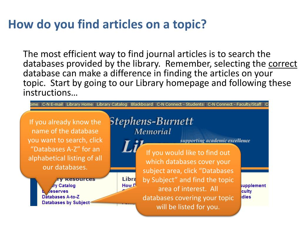 How do you find articles on a topic?