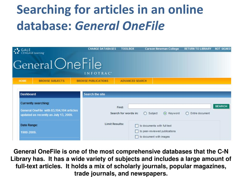 Searching for articles in an online      database: