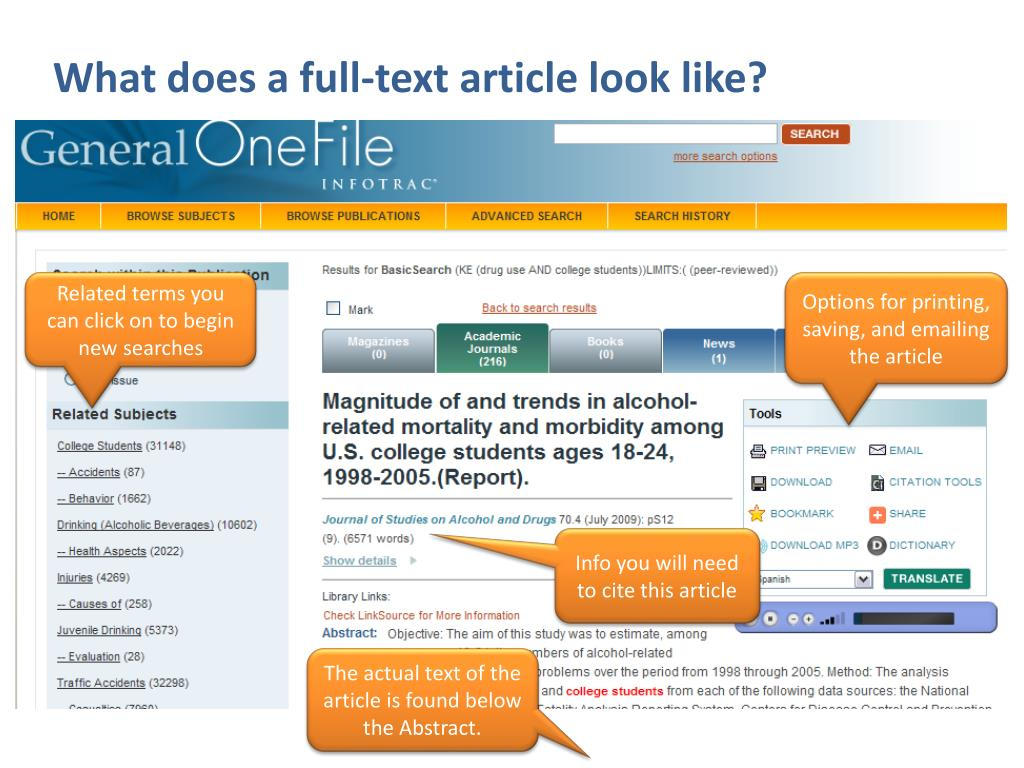 What does a full-text article look like?