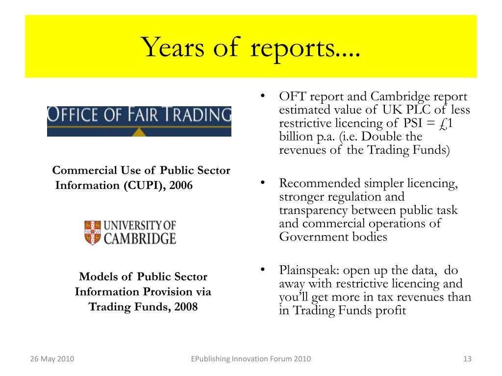 Years of reports....