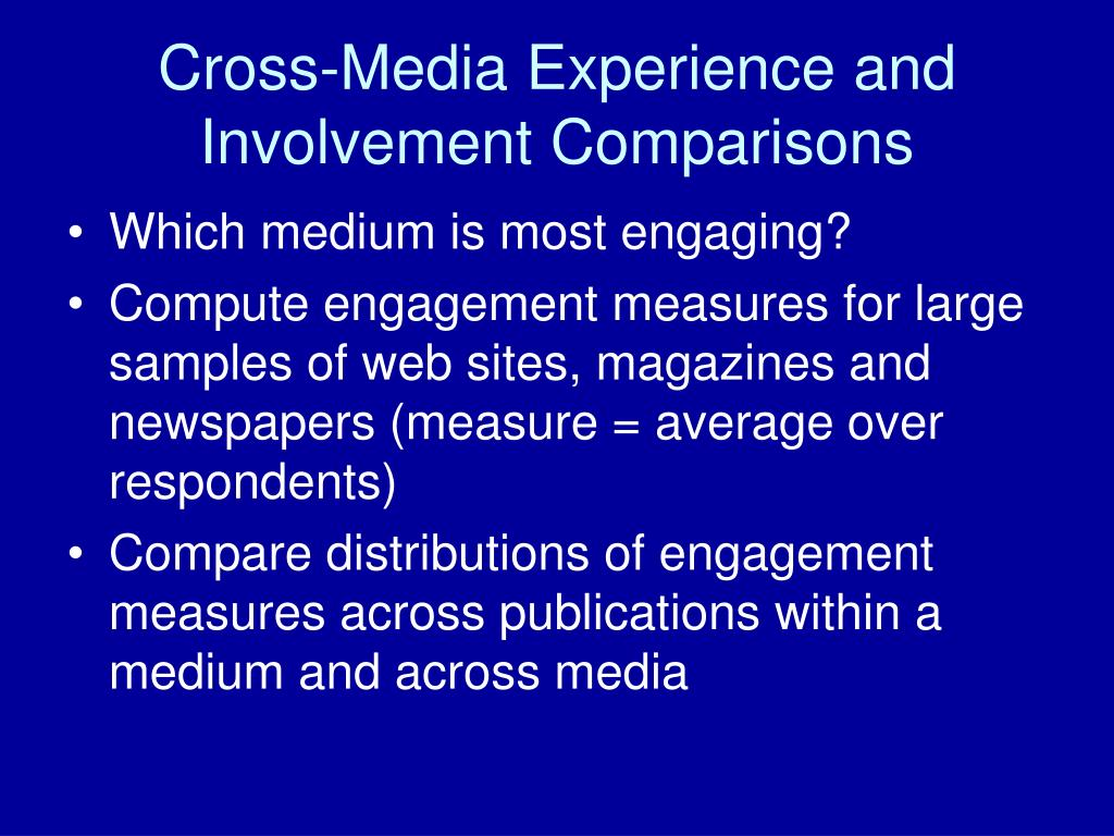 Cross-Media Experience and Involvement Comparisons