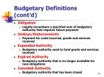 budgetary definitions cont d