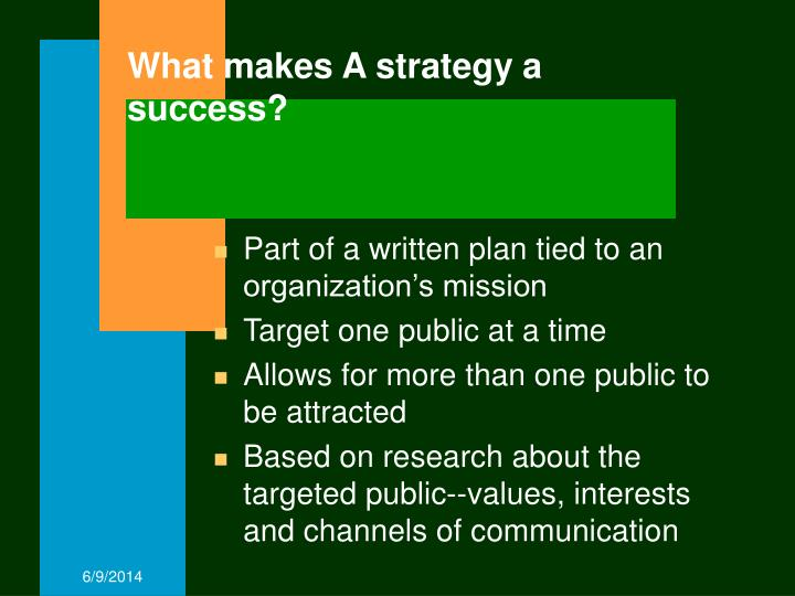 What makes a strategy a success