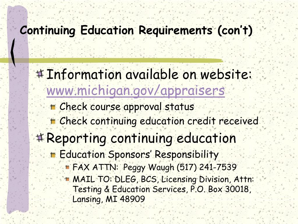 Continuing Education Requirements (con't)