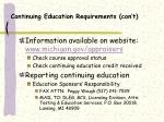 continuing education requirements con t