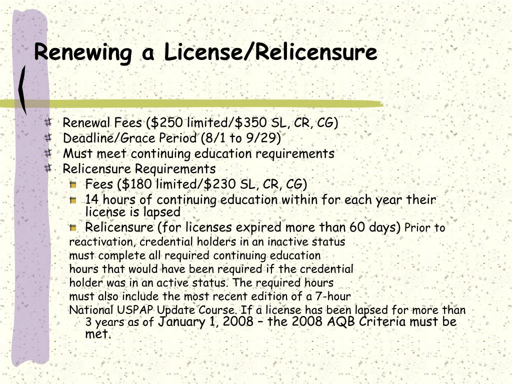 Renewing a License/Relicensure