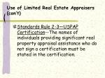 use of limited real estate appraisers con t