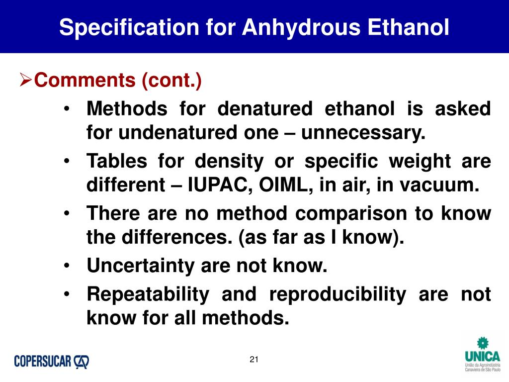Specification for Anhydrous Ethanol
