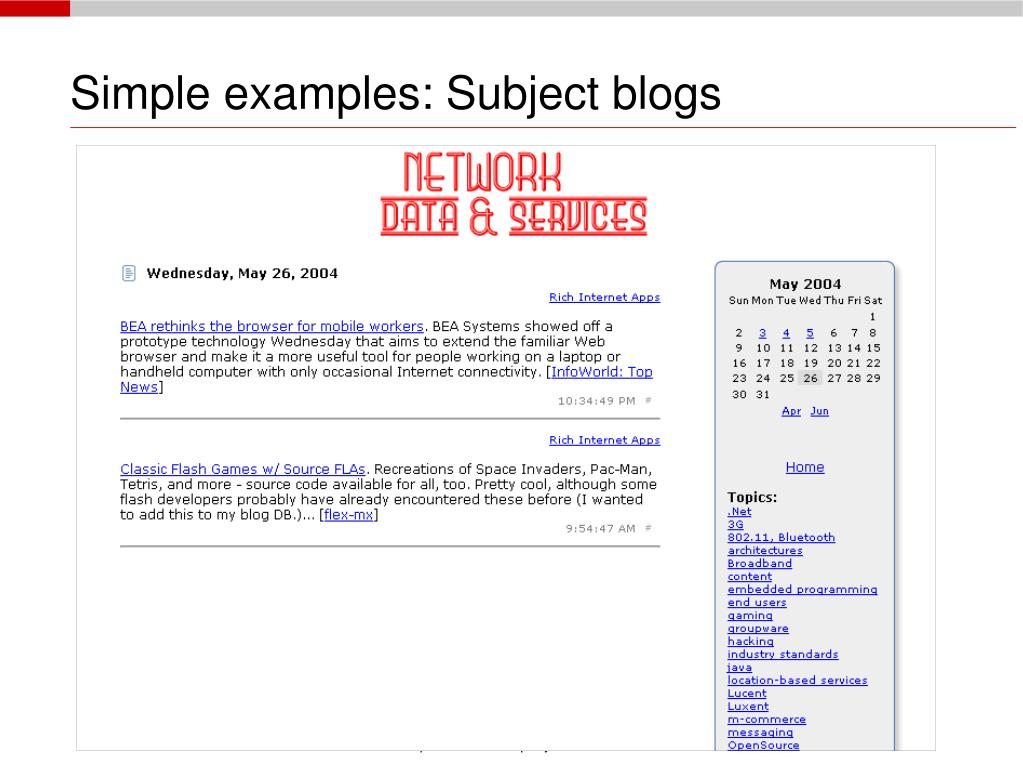Simple examples: Subject blogs
