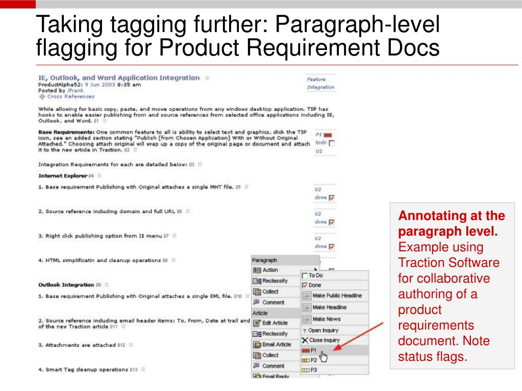 Taking tagging further: Paragraph-level flagging for Product Requirement Docs