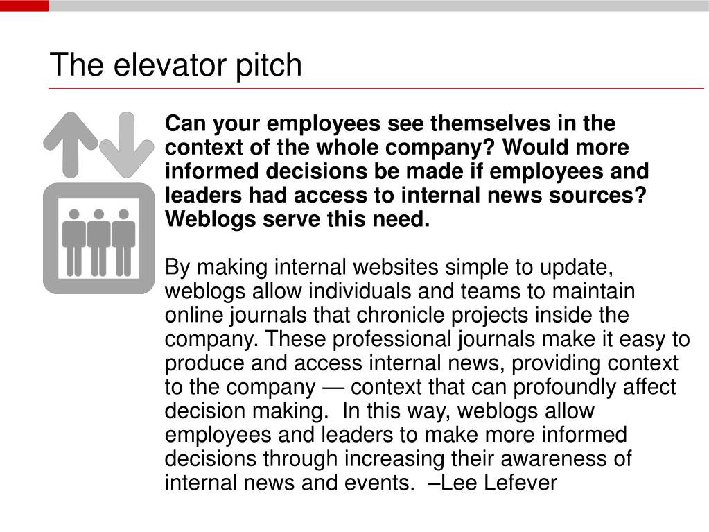 The elevator pitch