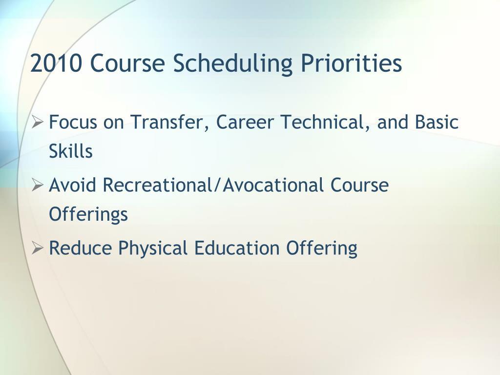 2010 Course Scheduling Priorities