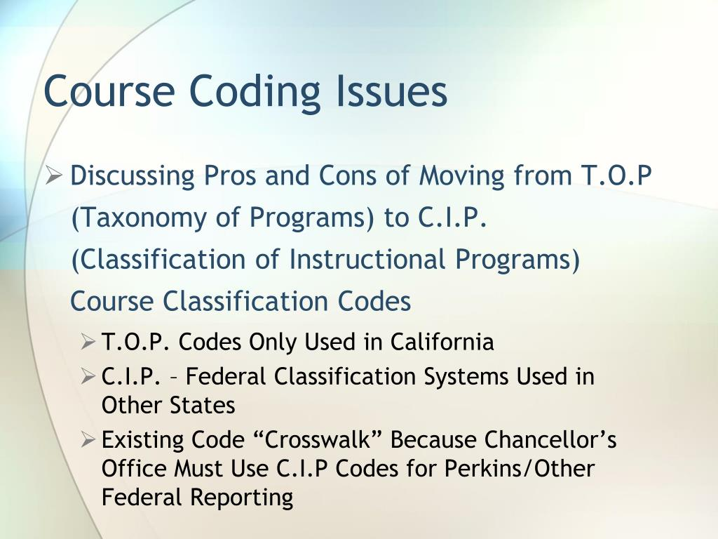 Course Coding Issues
