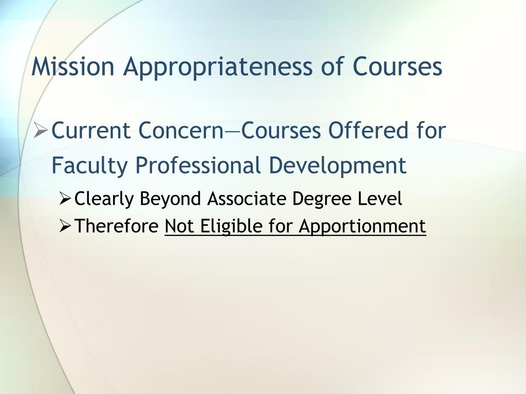 Mission Appropriateness of Courses