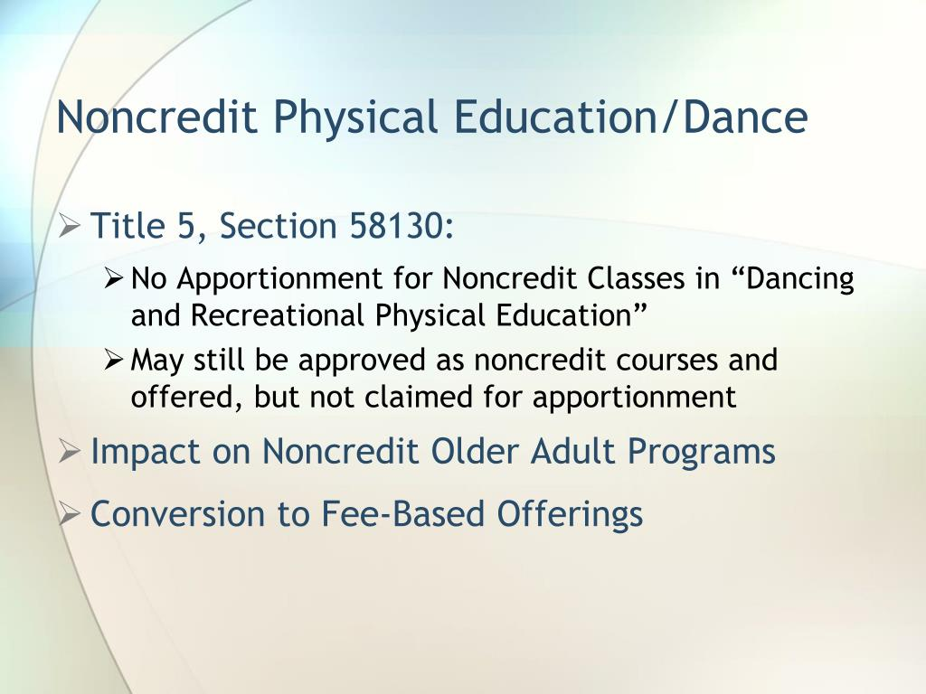 Noncredit Physical Education/Dance