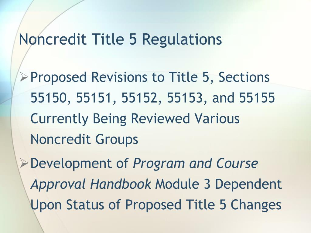 Noncredit Title 5 Regulations