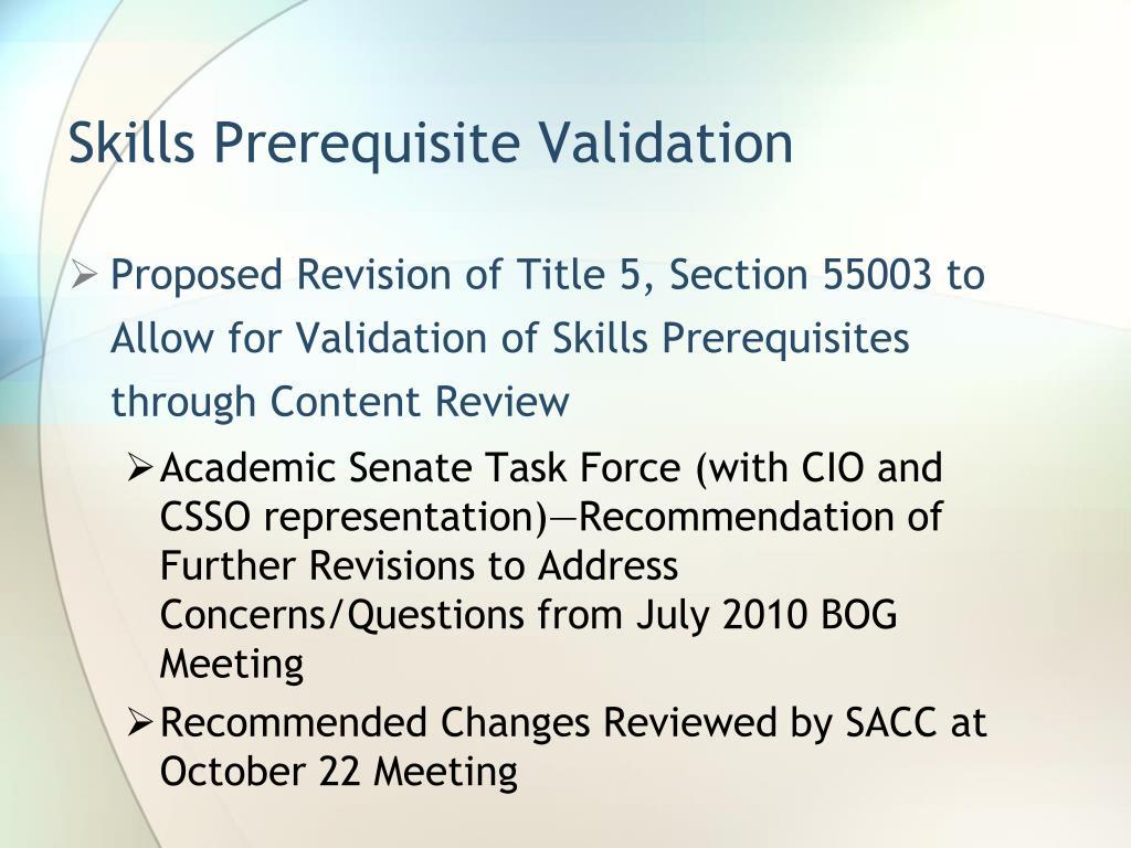 Skills Prerequisite Validation