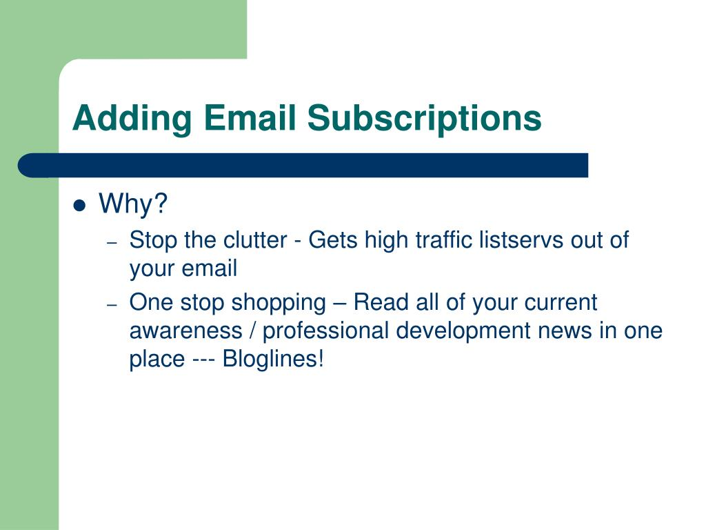 Adding Email Subscriptions