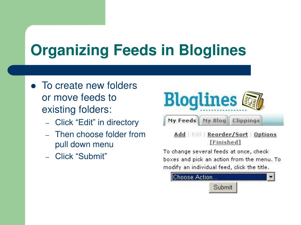 To create new folders or move feeds to existing folders: