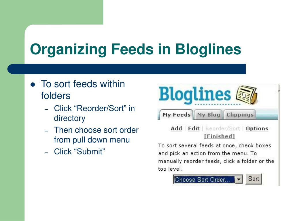 Organizing Feeds in Bloglines