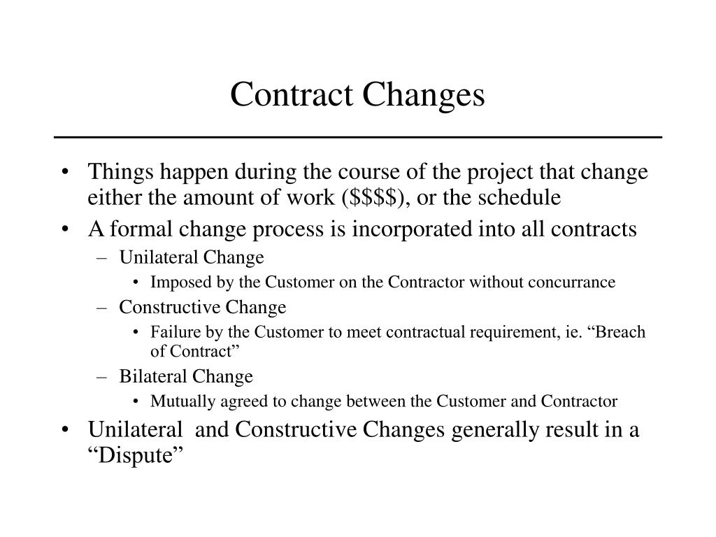 Contract Changes
