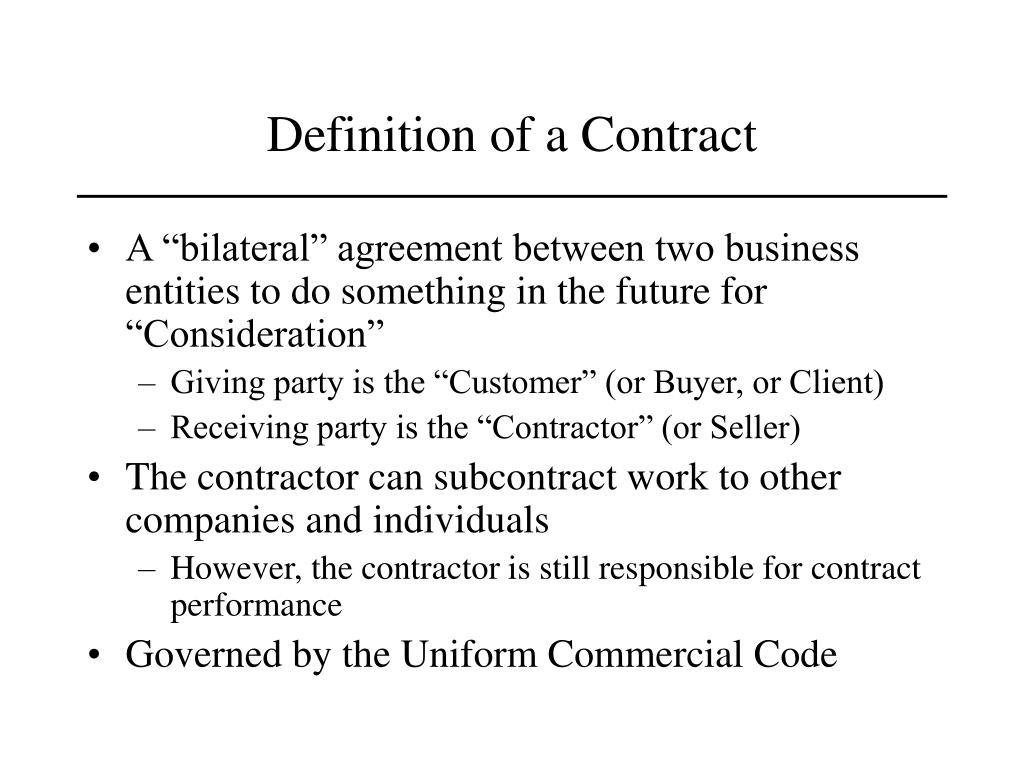 Definition of a Contract